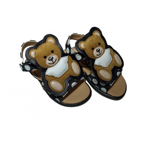Moschino Kids teddy patch touch strap sandals 26295 WHITE-Black