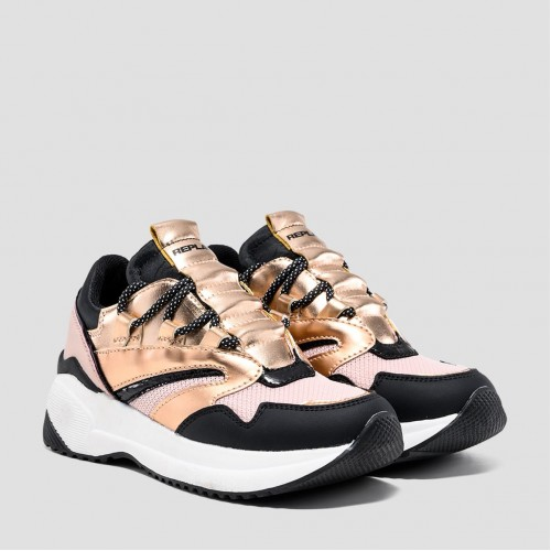 Replay GIRLS' WHOK LACE UP SNEAKERS JS240030S-2728 PINK BLACK